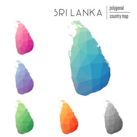 Set of vector polygonal Sri Lanka maps.