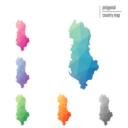 Set of vector polygonal Albania maps. Bright gradient map of country in low poly style. Multicolored Albania map in geometric style for your infographics.