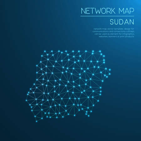 Sudan network map. Abstract polygonal map design. Internet connections. Ilustração