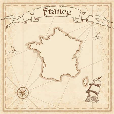 Frankreich alte Schatzkarte. Sepia gravierte Vorlage der Piratenkarte. Stilisierte Piratenkarte auf Weinlesepapier. Vektorgrafik