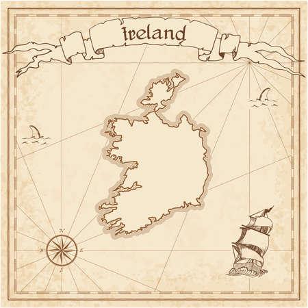 Ancienne carte au trésor de l'Irlande. Sépia gravé modèle de carte pirate. Carte de pirate stylisée sur papier vintage. Banque d'images - 89195608