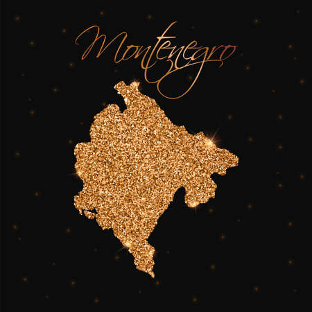 Montenegro map filled with golden glitter. Luxurious design element, vector illustration.  イラスト・ベクター素材