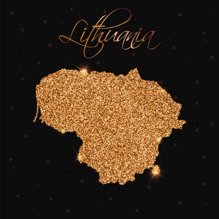 Lithuania map filled with golden glitter. Luxurious design element, vector illustration.