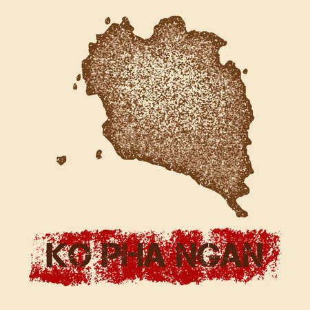 Ko Pha Ngan distressed map. Grunge patriotic poster with textured island ink stamp and roller paint mark, vector illustration.