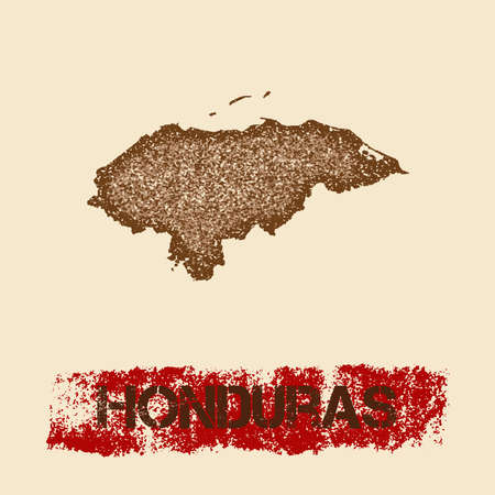 Honduras distressed map. Grunge patriotic poster with textured country ink stamp and roller paint mark, vector illustration. Illustration