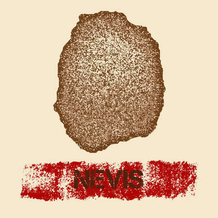 Nevis distressed map. Grunge patriotic poster with textured island ink stamp and roller paint mark, vector illustration.