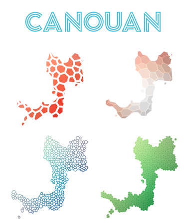 Canouan polygonal island map. Mosaic style maps collection. Bright abstract tessellation, geometric, low poly, modern design. Canouan polygonal maps for infographics or presentation.