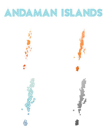 Andaman Islands polygonal island map. Mosaic style maps collection. Bright abstract tessellation, geometric, low poly, modern design. Andaman Islands polygonal maps for infographics or presentation.