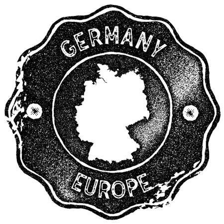 Timbro vintage mappa Germania. Etichetta fatta a mano in stile retrò, badge o elemento per souvenir di viaggio. Timbro di gomma nero con silhouette di mappa del paese. Illustrazione vettoriale Archivio Fotografico - 91518394