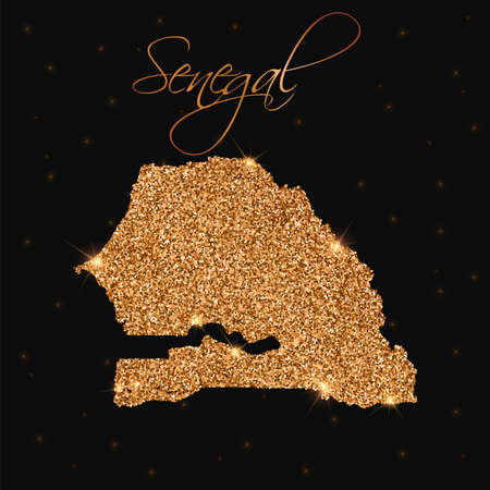 Senegal map filled with golden glitter. Luxurious design element, vector illustration. Illustration