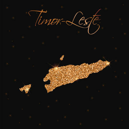 Timor-Leste map filled with golden glitter. Luxurious design element, vector illustration. Illustration