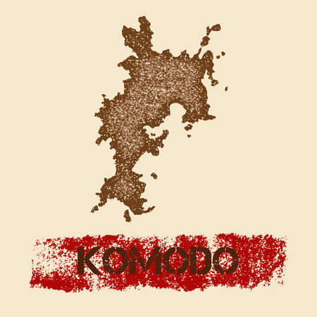 Komodo distressed map. Grunge patriotic poster with textured island ink stamp and roller paint mark, vector illustration.