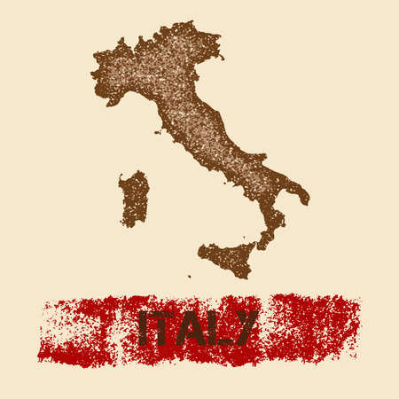 Italy distressed map. Grunge patriotic poster with textured country ink stamp and roller paint mark, vector illustration.