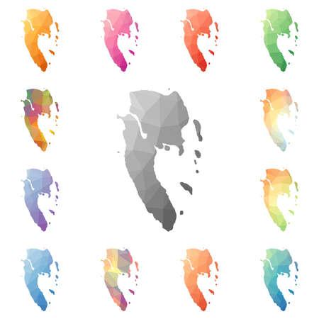 Set of watercolored Ko Lanta geometric polygonal map, mosaic style illustration.