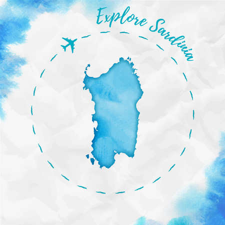 Sardinia watercolor island map in turquoise colors. Explore Sardinia poster with airplane trace and handpainted watercolor Sardinia map on crumpled paper. Vector illustration. Иллюстрация