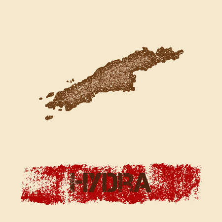 Hydra distressed map. Grunge patriotic poster with textured island ink stamp and roller paint mark, vector illustration.