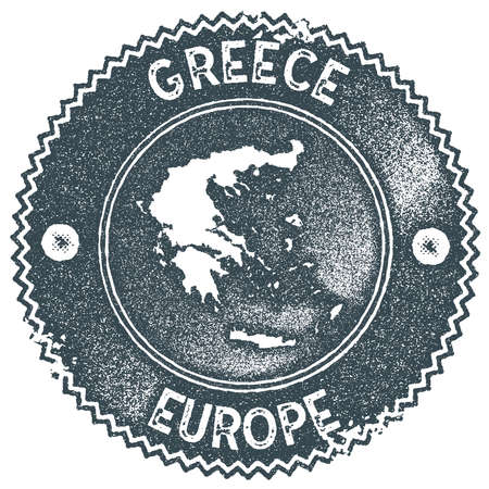 Greece map vintage stamp. Retro style handmade label, badge or element for travel souvenirs. Dark blue rubber stamp with country map silhouette. Vector illustration.