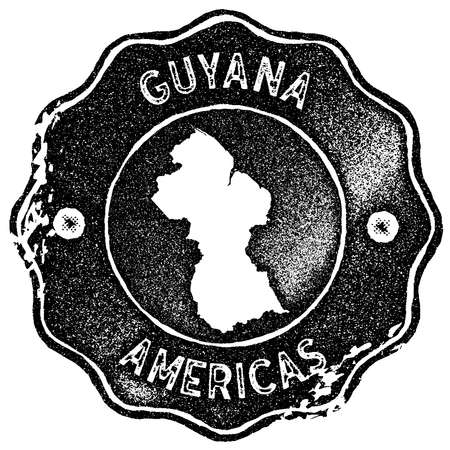 Guyana map vintage stamp. Retro style handmade label, badge or element for travel souvenirs. Black rubber stamp with country map silhouette. Vector illustration.
