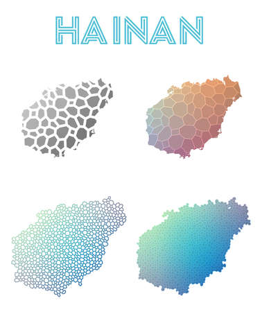 Hainan polygonal island map. Mosaic style maps collection. Bright abstract tessellation, geometric, low poly, modern design. Hainan polygonal maps for infographics or presentation.