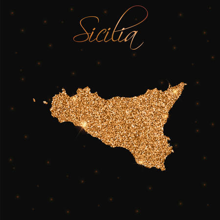 Mappa siciliana piena di glitter dorati. Elemento di design di lusso, illustrazione vettoriale.