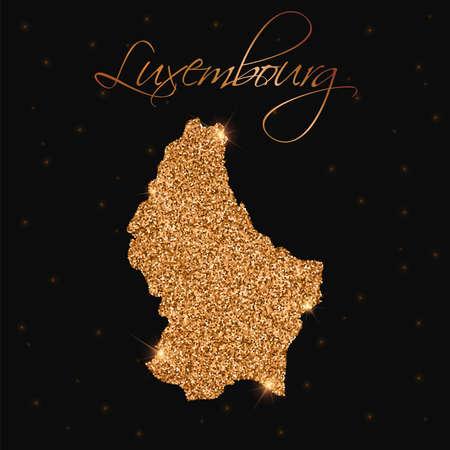 Luxembourg map filled with golden glitter. Luxurious design element, vector illustration. Ilustração