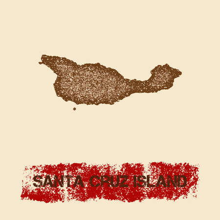 Santa Cruz Island distressed map. Grunge patriotic poster with textured island ink stamp and roller paint mark, vector illustration.