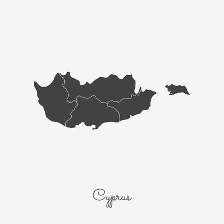Cyprus region map: grey outline on white background. Detailed map of Cyprus regions. Vector illustration. Illustration