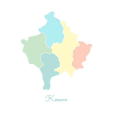 Kosovo region map: colorful with white outline. Detailed map of Kosovo regions. Vector illustration. Illustration