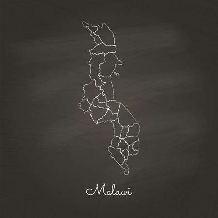 Malawi region map: hand drawn with white chalk on school blackboard texture. Detailed map of Malawi regions.