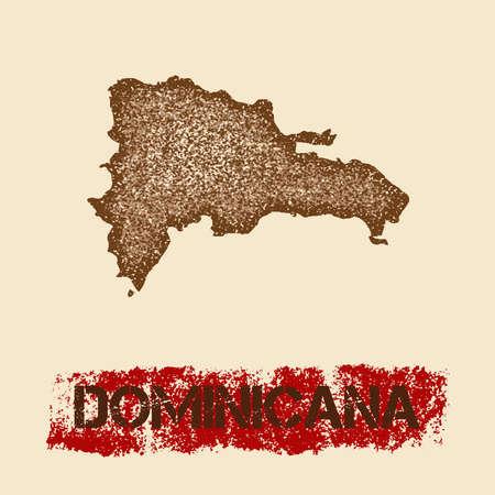 Dominicana noodlijdende kaart. Grunge patriottische affiche met het geweven de inktzegel van het land en teken van de rolverf, vectorillustratie.
