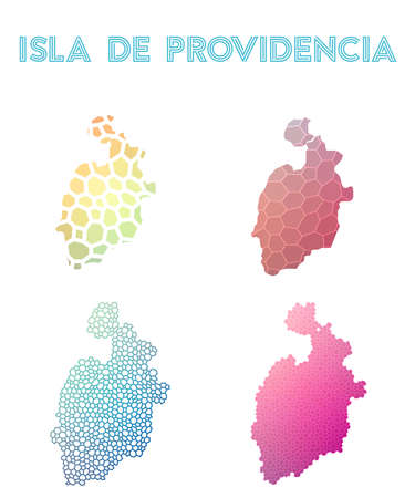 Isla de Providencia polygonal island map. Mosaic style maps collection. Bright abstract tessellation, geometric, low poly, modern design.