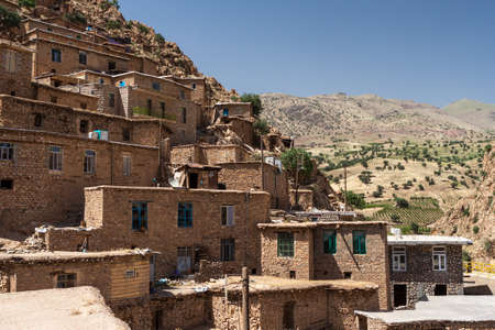 Old stony houses in Palangan village on the hill in Iranian Kurdistan. Version 2.