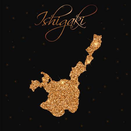 石垣島の地図は、黄金の輝き、豪華なデザイン要素の図でいっぱい。  イラスト・ベクター素材