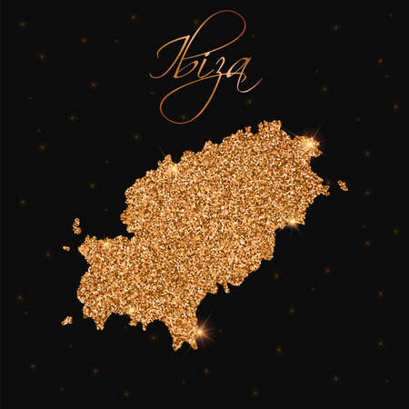 Ibiza map filled with golden glitter vector illustration