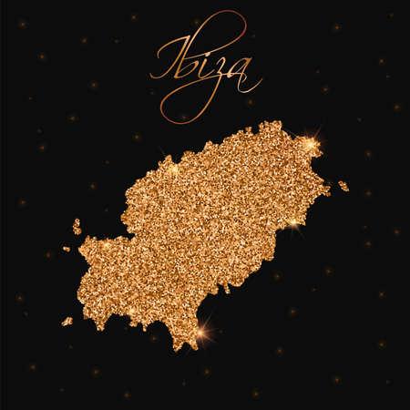 Ibiza map filled with golden glitter vector illustration Banco de Imagens - 91581591