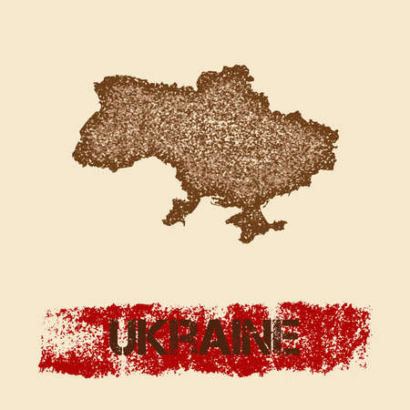 Ukraine distressed map. Grunge patriotic poster with textured country ink stamp and roller paint mark, vector illustration.