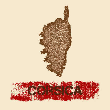 Corsica distressed map. Grunge patriotic poster with textured island ink stamp and roller paint mark, vector illustration.