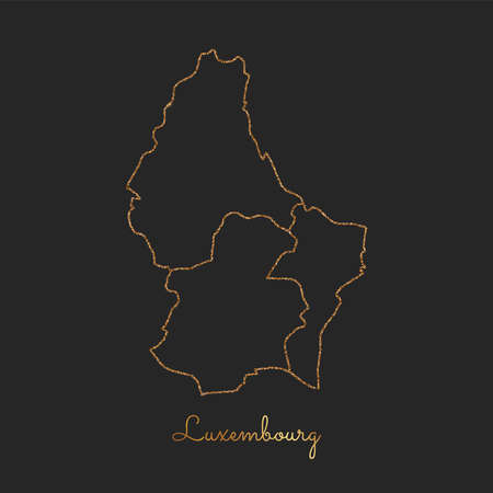 Luxembourg region map: golden glitter outline with sparkling stars on dark background. Detailed map of Luxembourg regions. Vector illustration. Illustration