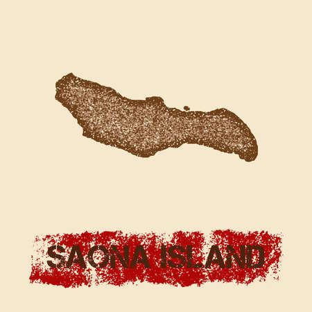 Saona Island noodlijdende kaart. Grunge patriottische affiche met het geweven zegel van de eilandinkt en het teken van de rolverf, vectorillustratie.