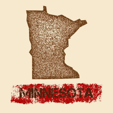 Minnesota distressed map. Grunge patriotic poster with textured state ink stamp and roller paint mark, vector illustration. Illustration