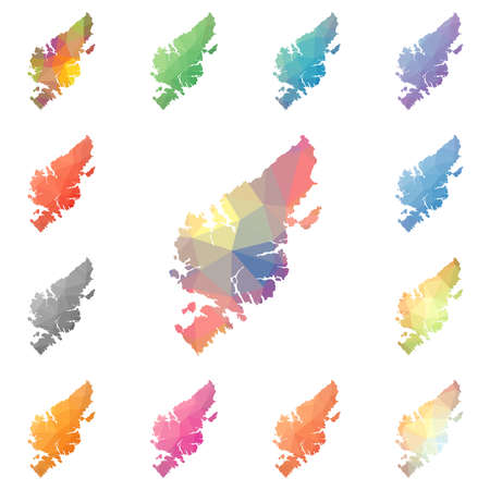 Lewis and Harris geometric polygonal, mosaic style island maps collection. Bright abstract tessellation, low poly style, modern design.
