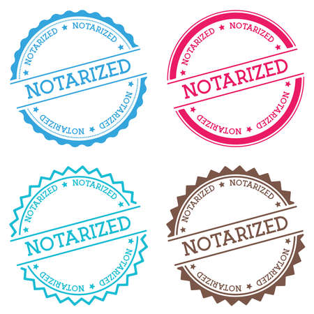 Notarized badge isolated on white background. Flat style round label with text. Circular emblem vector illustration.