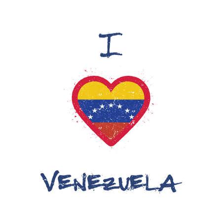 I love Venezuela, Bolivarian Republic of t-shirt design. Venezuelan flag in the shape of heart on white background. Grunge vector illustration.