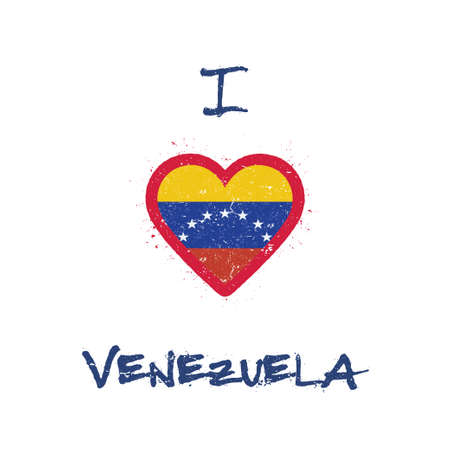 I love Venezuela, Bolivarian Republic of t-shirt design. Venezuelan flag in the shape of heart on white background. Grunge vector illustration.