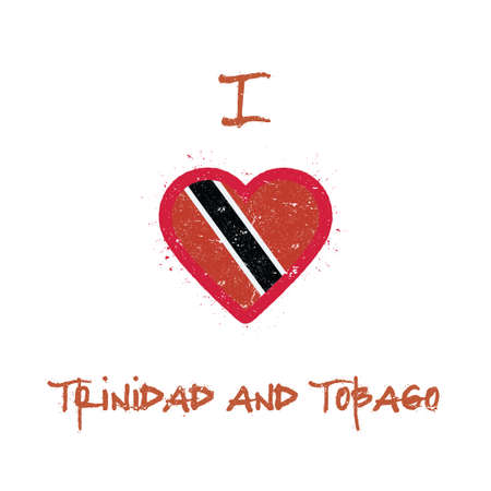 I love Trinidad and Tobago t-shirt design. Trinidadian flag in the shape of heart on white background. Grunge vector illustration.