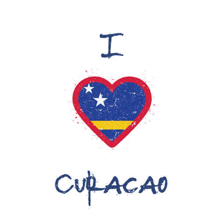 I love Curacao t-shirt design. Dutch flag in the shape of heart on white background. Grunge vector illustration.