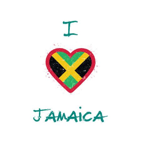 I love Jamaica t-shirt design. Jamaican flag in the shape of heart on white background. Grunge vector illustration. Çizim