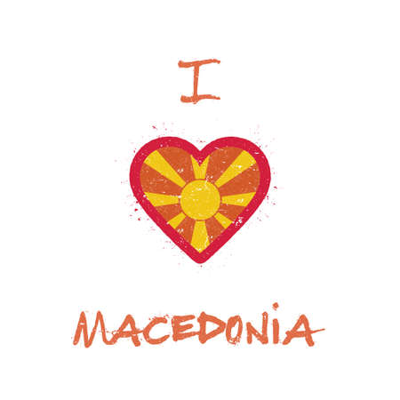 I love Macedonia, the Former Yugoslav Republic Of t-shirt design. Macedonian flag in the shape of heart on white background. Grunge vector illustration. Çizim