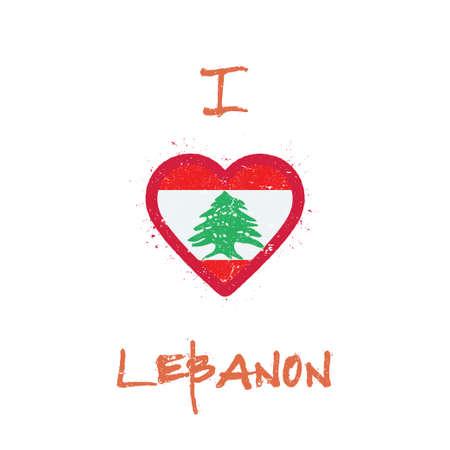 I love Lebanon t-shirt design. Lebanese flag in the shape of heart on white background. Grunge vector illustration. Çizim