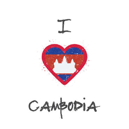 I love Cambodia t-shirt design. Cambodian flag in the shape of heart on white background. Grunge vector illustration.
